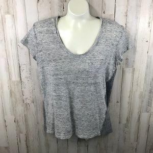 Madewell Womens Top S Gray Linen Short Sleeve